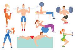 Cartoon sport gym people group exercise on fitness ball Stock Image