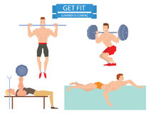 Cartoon sport gym people group exercise on fitness ball Stock Images