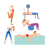 Cartoon sport gym people vector. Royalty Free Stock Images