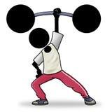 Cartoon sport icon - weight lifting. Cartoon sport icon of a man doing weight lifting Stock Photo