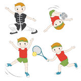 Cartoon sport kids. Set of isolated  boys activity exercise on white background Royalty Free Stock Images