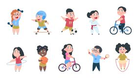Cartoon sport kids. Boys and girls playing ball, group of children ride on bike, do active physical exercises. Vector