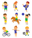 Cartoon sport kids. Vector illustration for 2016 brazil olympic game Royalty Free Stock Photos