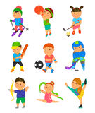 Cartoon sport kids. Vector illustration Royalty Free Stock Images