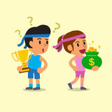 Cartoon sport man holding trophy and sport woman holding money bag Royalty Free Stock Photography