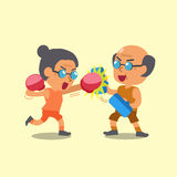 Cartoon sport old woman and old man doing boxing training Royalty Free Stock Photography