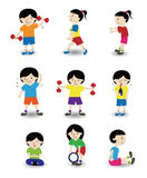 Cartoon sport people icon set. Drawing Royalty Free Stock Photo