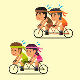 Cartoon sport people ride tandem bicycles Royalty Free Stock Image