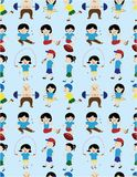 Cartoon sport people seamless pattern Royalty Free Stock Image
