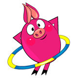 Cartoon  sport pig . animal character image Royalty Free Stock Photo