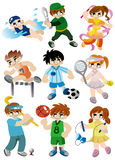 Cartoon sport player icon set. Drawing Royalty Free Stock Images