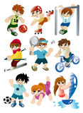 Cartoon sport player icon set. Drawing Stock Photos