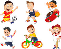 Cartoon sport player icon set Royalty Free Stock Photography