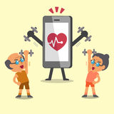 Cartoon sport senior people doing dumbbell exercise with smartphone Royalty Free Stock Photo