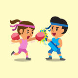 Cartoon sport woman and man doing boxing training Royalty Free Stock Image