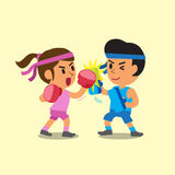 Cartoon sport woman and man doing uppercut punch training. For design Royalty Free Stock Image