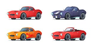 Cartoon sportcar design in modern style. Muscle car different variations. Vector illustration. Cartoon sportcar design in modern style. Muscle car different Stock Image