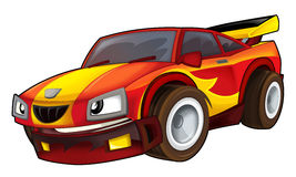 Cartoon sports car racing. Beautiful illustration for the children Stock Photography