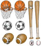 Cartoon Sports Equipment Set With and Without Faces Royalty Free Stock Photos
