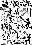 Cartoon sports set. Black and white cartoon sport  collection Stock Photo