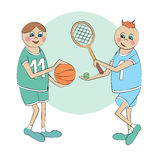 Cartoon sportsmen Royalty Free Stock Images