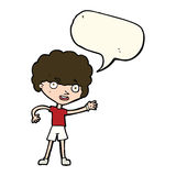 cartoon sporty person with speech bubble Stock Photo