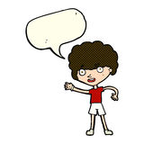 Cartoon sporty person with speech bubble Royalty Free Stock Image