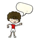 Cartoon sporty person with speech bubble Stock Images