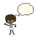 cartoon sporty person with thought bubble Royalty Free Stock Images