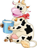 Cartoon spotted cow with a bucket of milk Royalty Free Stock Image