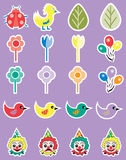 Cartoon Spring Party Icon Set. Cartoon spring party theme icon set including birds, insects, clowns, balloons and flowers Stock Photography