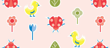Cartoon Spring Party. Seamless background design  Vector hand-drawn flowers, birds, and ladybug Stock Images