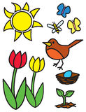 Cartoon Springtime Items and Animals Stock Image