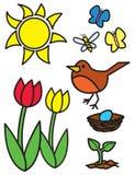 Cartoon Springtime Items and Animals Stock Image
