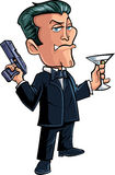 Cartoon spy character with martini Stock Image