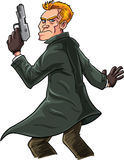 Cartoon spy with a gun looking over his shoulder. Isolated Stock Images