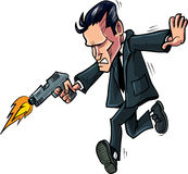Cartoon spy running with his gun. Isolated Stock Images