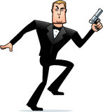 Cartoon Spy in Tuxedo Sneaking Stock Photo
