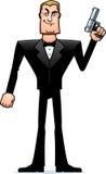 Cartoon Spy in Tuxedo Standing Stock Photography