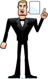 Cartoon Spy in Tuxedo Talking Royalty Free Stock Image