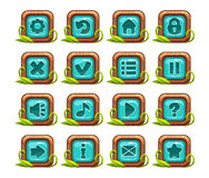Cartoon square buttons menu set. With blue middle and grass decoration, on white royalty free illustration