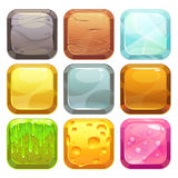 Cartoon square buttons set, app icons. With different textures, isolated on white royalty free illustration