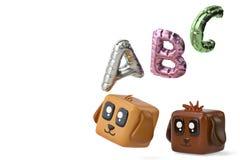 Cartoon squares dog and abc balloon.3D illustration. Cartoon squares dog and abc balloon. 3D illustration stock illustration