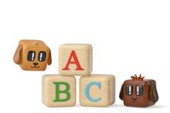 Cartoon squares dog and abc block.3D illustration. Cartoon squares dog and abc block. 3D illustration stock illustration