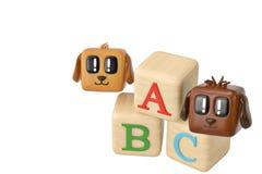 Cartoon squares dog and abc block.3D illustration. Cartoon squares dog and abc block. 3D illustration royalty free illustration