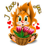 Cartoon squirrel with basket of tulips Royalty Free Stock Images