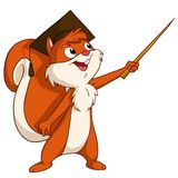 Cartoon squirrel in graduated hat with pointer Stock Images