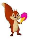 Cartoon squirrel with icecream Stock Images