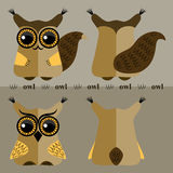 Cartoon squirrel and owl, front and back Stock Image
