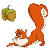 Cartoon squirrel sneak up to nuts Stock Photos